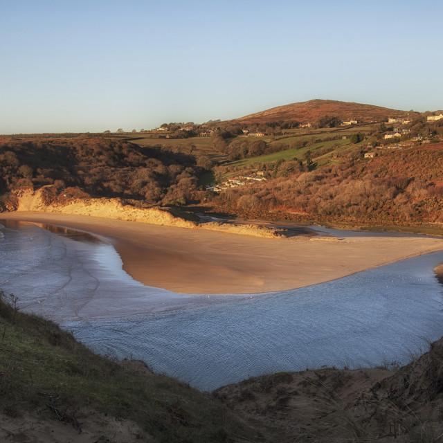 """Three Cliffs Beach"" stock image"