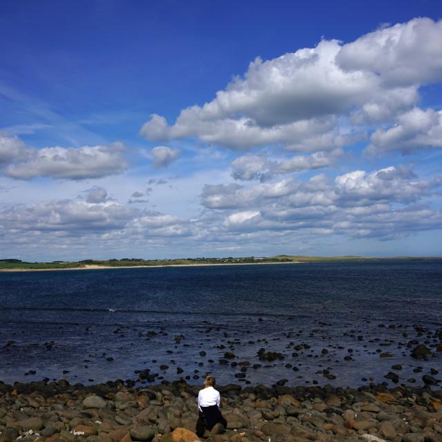 """""""Towards Beadnell Bay."""" stock image"""