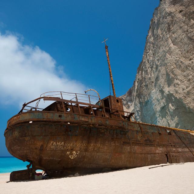 """Shipwreck - At navagio beach Zakynthos"" stock image"