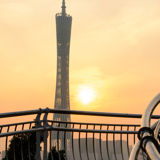 """Guangzhou Canton tower at sunset, Guangdong, China"" stock image"
