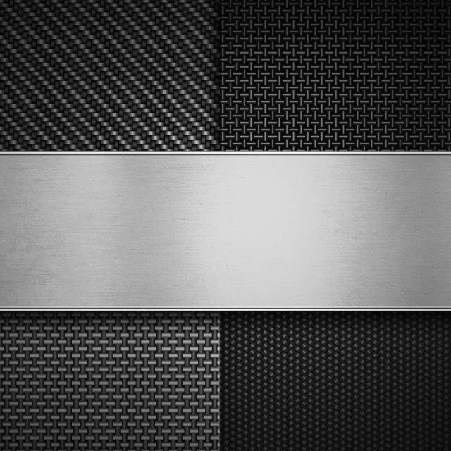 """""""Four types of carbon fiber texture with polish metal plate on ce"""" stock image"""