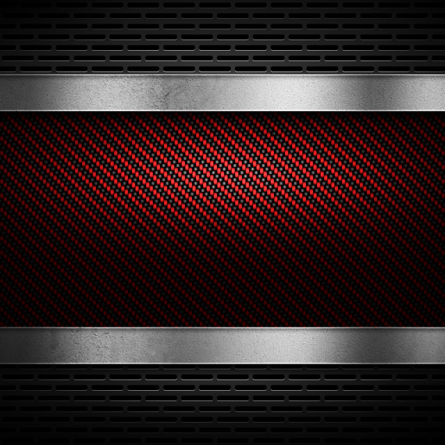 """""""Red carbon fiber with grey perforated metal and polish metal pla"""" stock image"""