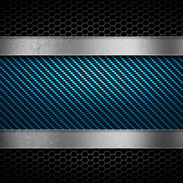 """""""Abstract modern blue carbon fiber with perforated metal plate te"""" stock image"""