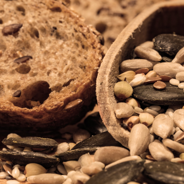"""Bread background closeup with cereals mix 1"" stock image"