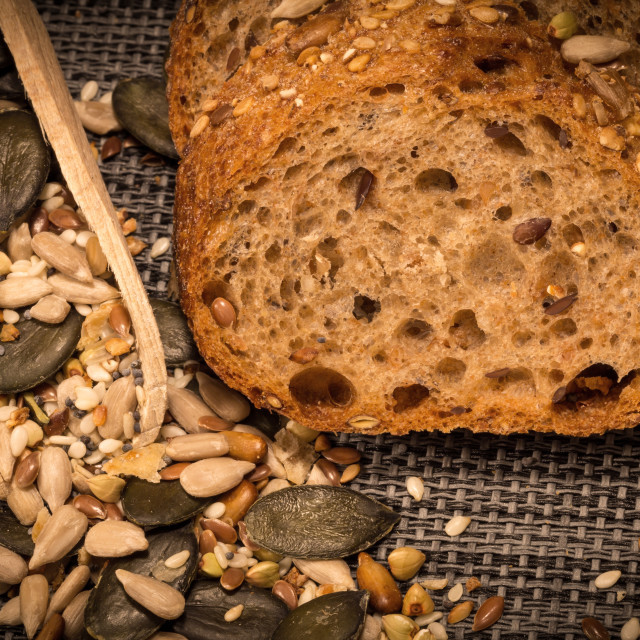 """Bread background closeup with cereals mix 6"" stock image"