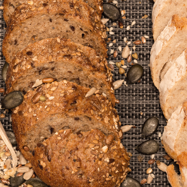 """Bread background closeup with cereals mix 3"" stock image"