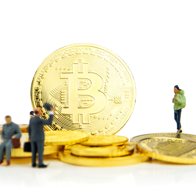 """crypto currencies, bitcoin especially is the possibility to get rich"" stock image"