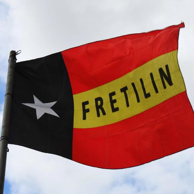 """""""Flag of the Fretilin in Dili (Timor Leste)"""" stock image"""