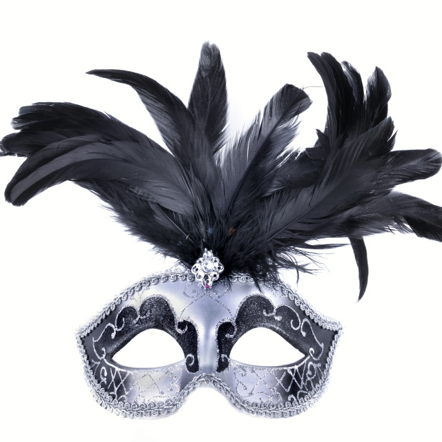 """""""carnival mask with black feather"""" stock image"""