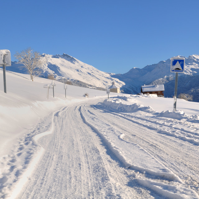 """""""road covered with snow in winter"""" stock image"""