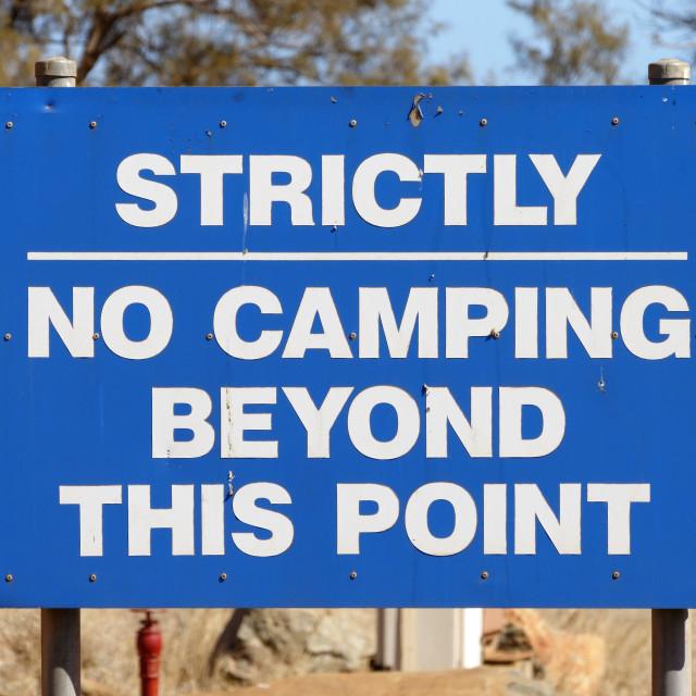 """""""No camping sign"""" stock image"""