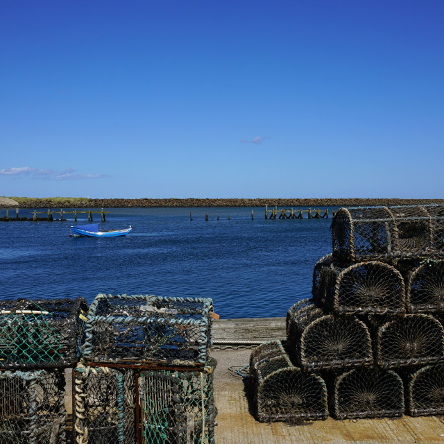 """Lobster and Crab Pots, Amble, Northumberland"" stock image"