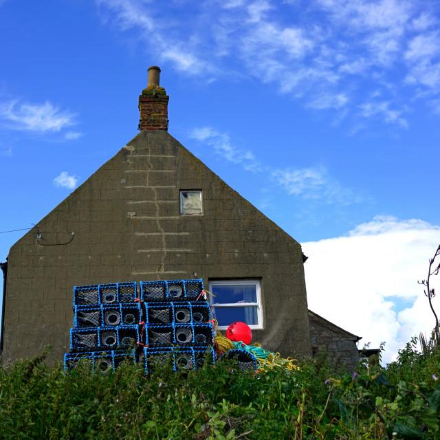 """Fishermans Cottage, Boulmer, Northumberland"" stock image"