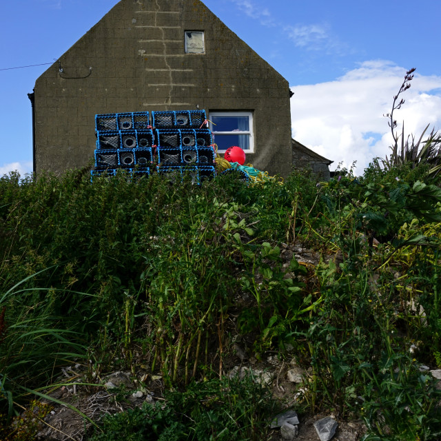 """Fisherman's Cottage, Boulmer, Northumberland"" stock image"
