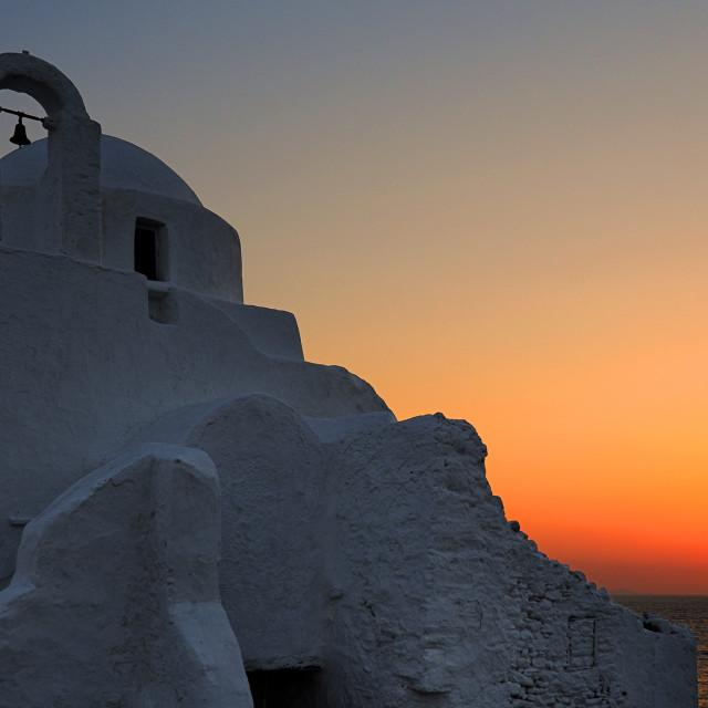 """Sunset at Panagia Paraportiani church"" stock image"