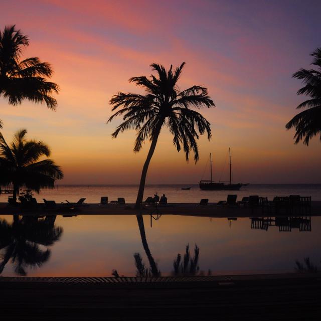 """Beautiful Silhouettes at Meeru ,Maldives"" stock image"