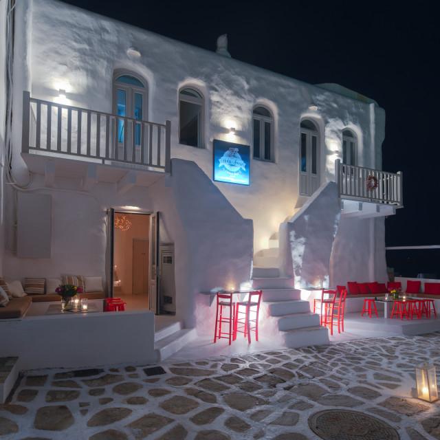 """""""Night life at Naoussa Paros"""" stock image"""