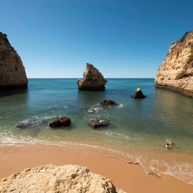 """Cove near Carvoeiro, Portugal"" stock image"