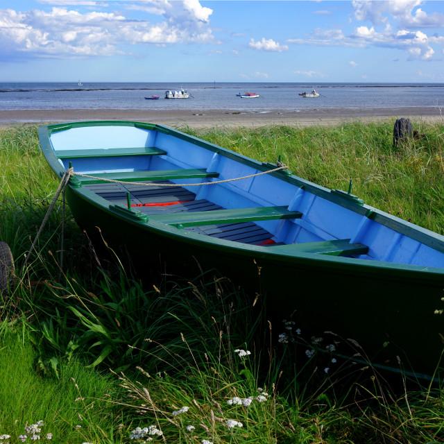 """The Shore, Boulmer, Northumberland"" stock image"
