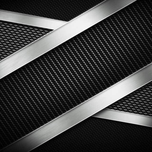"""""""Three types of modern carbon fiber with polish metal plate"""" stock image"""