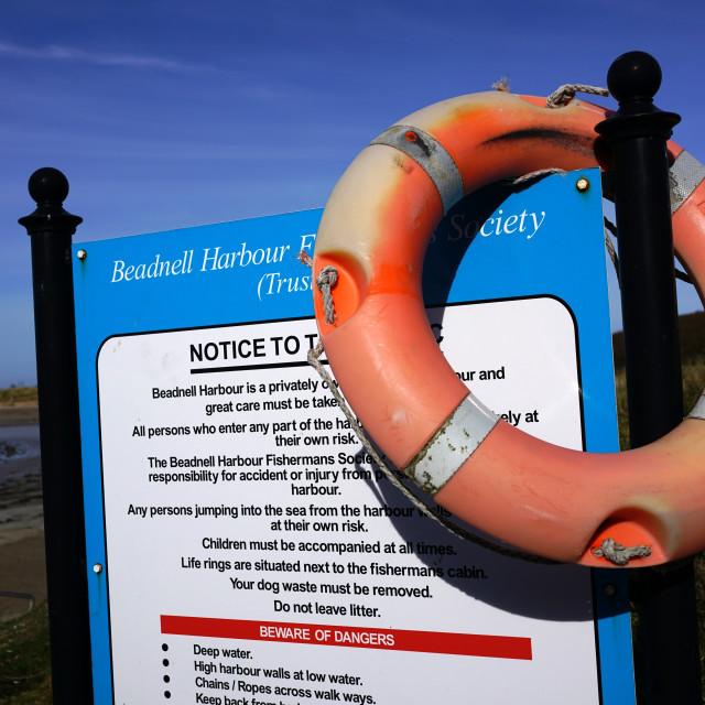 """Life Belt, Beadnell, Northumberland"" stock image"