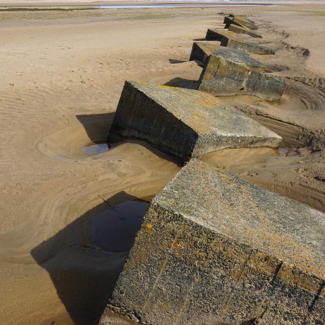 """Sea Defences, Beadnell Bay, Northumberland"" stock image"