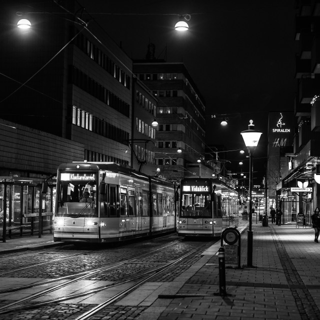 """Trams in Norrköping Sweden"" stock image"