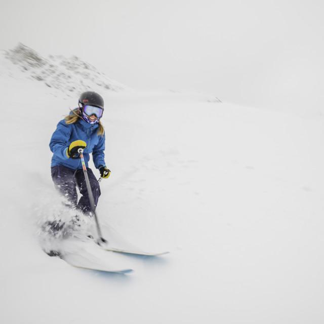 """Girl skiing in Canada"" stock image"