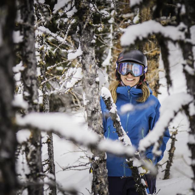 """Skier girl stopped in Lake Louise trees"" stock image"