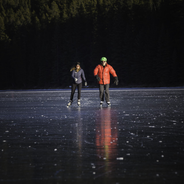 """Skating on Two Jack Lake, Banff 3"" stock image"