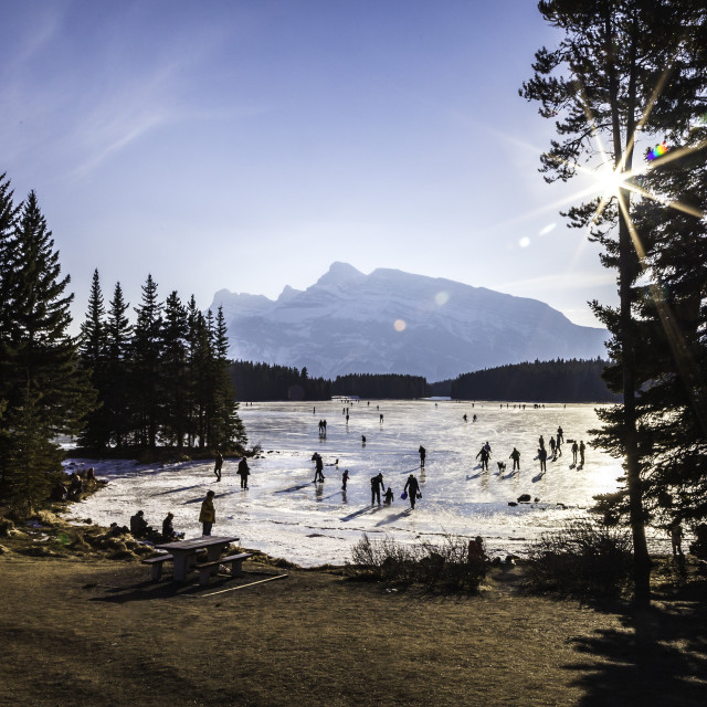 """Skating on Two Jack Lake, Banff"" stock image"