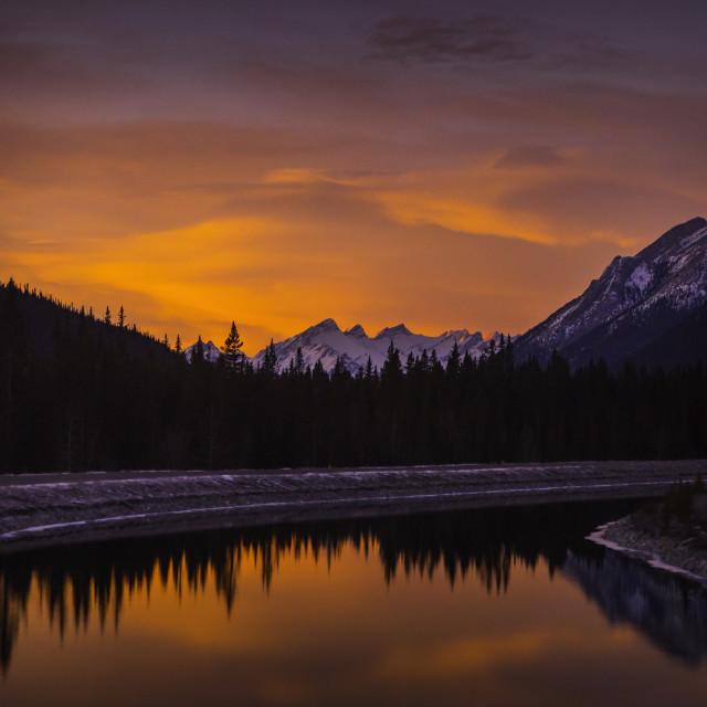"""Sunset in Kananskis Country, Canada"" stock image"