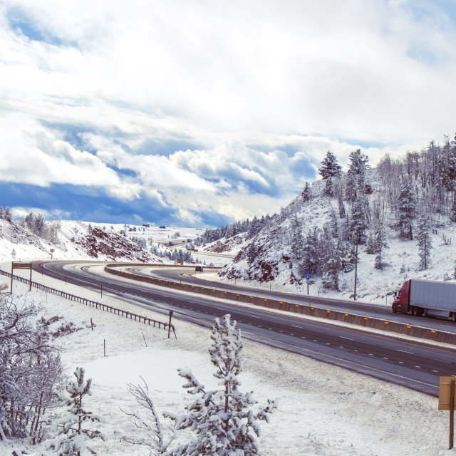 """""""Mountain highway in winter"""" stock image"""