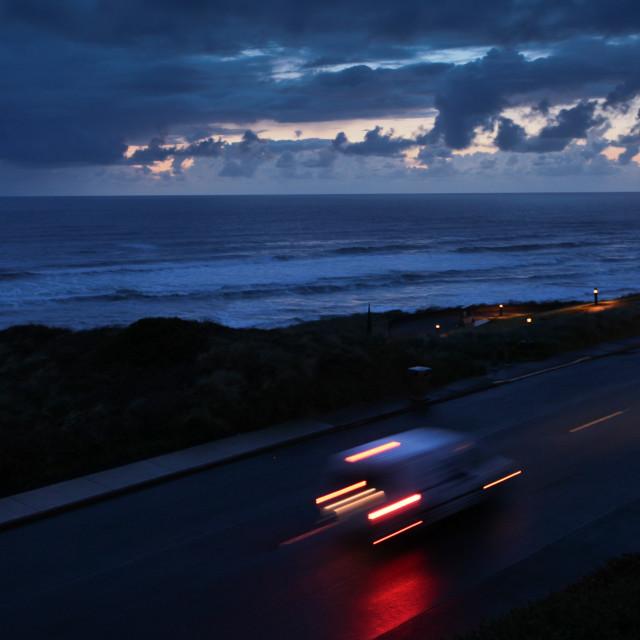 """""""Speeding up the Oregon Coast"""" stock image"""