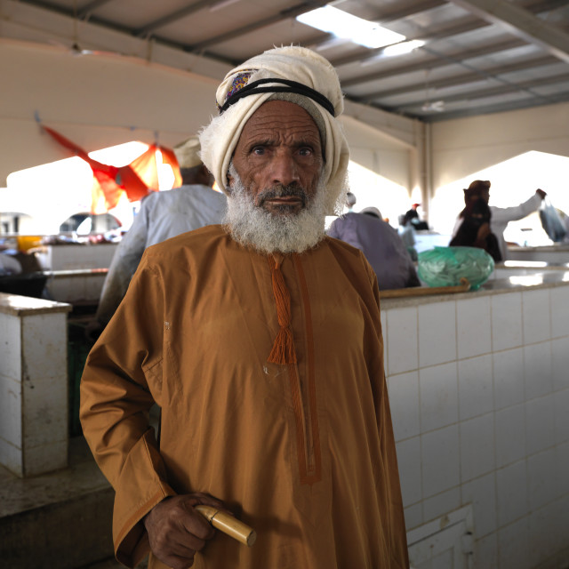 """Portrait Of Old Bedouin Man, Sinaw, Oman"" stock image"