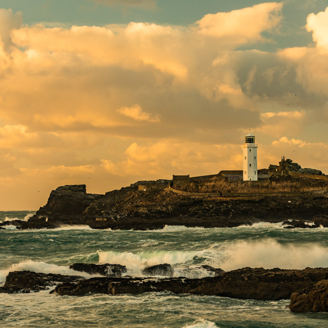 """Godrevy Lighthouse Sunset Cornwall"" stock image"
