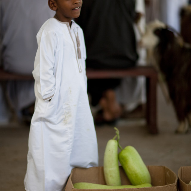 """Boy In Dishdasha Standing Beside A Box Of Vegetables, Sinaw, Oman"" stock image"