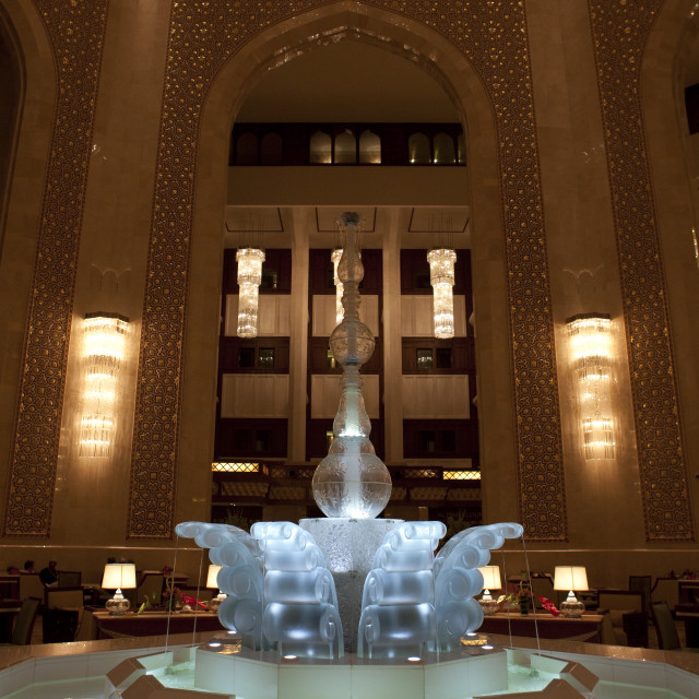 """Crystal Fountain In Bustan Palace Hall, Muscat, Oman"" stock image"