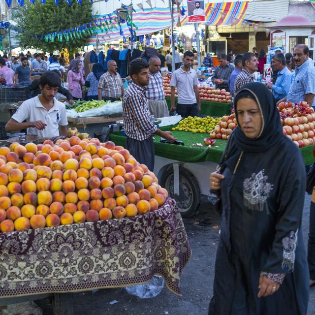 """Fruit Market In The Street, Suleymanyah, Kurdistan, Iraq"" stock image"
