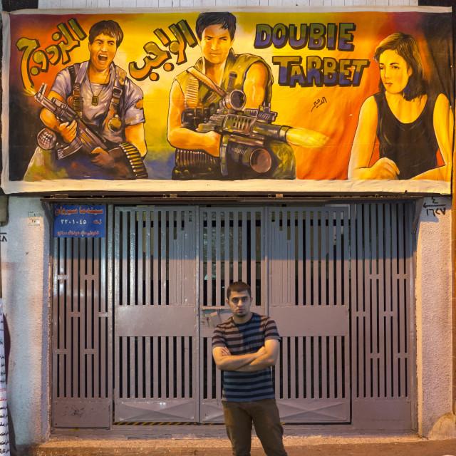 """Man In Front Of A Movie Theatre, Suleymanyah, Kurdistan, Iraq"" stock image"