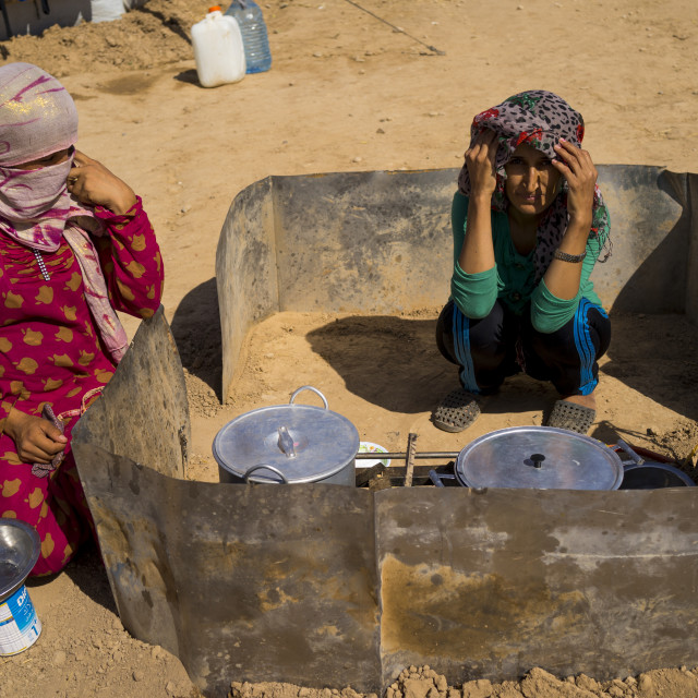 """Syrian Refugee Camp Open Air Kitchen, Erbil, Kurdistan, Iraq"" stock image"
