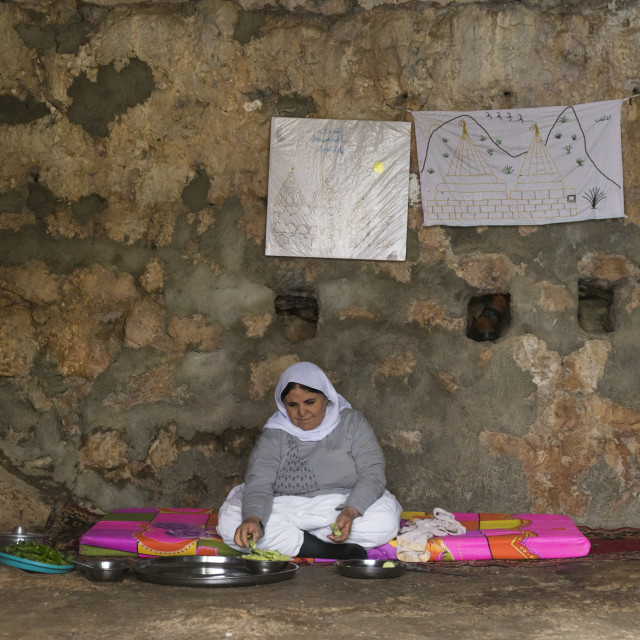 """""""Yezedi Refugee Woman Displaced From Sinjar Living Inside Lalesh Temple,..."""" stock image"""