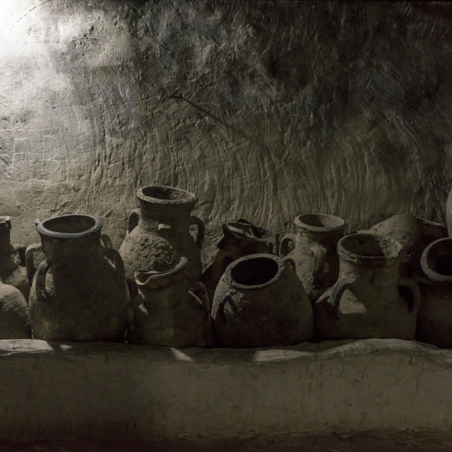 """Olive Oil Jars, Temple City Of Lalesh, Kurdistan, Iraq"" stock image"