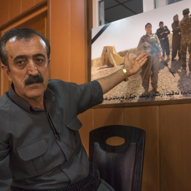 """Yousuf Majid With A Picture Of His Daughter, Peshmerga Captain Rangin Yousuf..."" stock image"