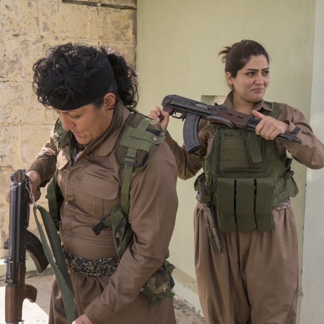 """Peshmergas Women Of The 2Nd Battalion Going To The Frontline, Sulaymaniyah,..."" stock image"