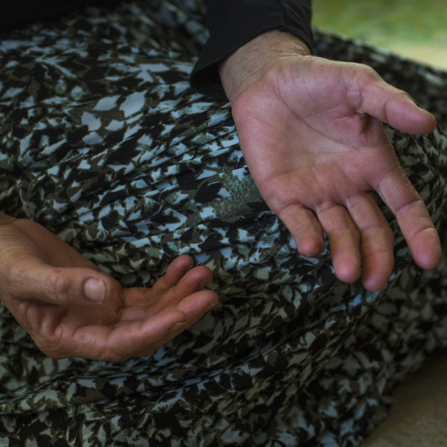 """Yezidi Refugee Woman Hands Displaced From Sinjar, Duhok, Kurdistan, Iraq"" stock image"