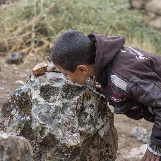 """Yezedi Refugee From Sinjar Kissing A Sacred Stone In Lalesh Temple,..."" stock image"