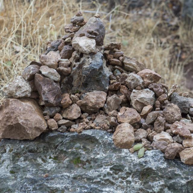 """Stones Put By Pilgrims To Bring Luck, Lalesh Temple, Kurdistan, Iraq"" stock image"