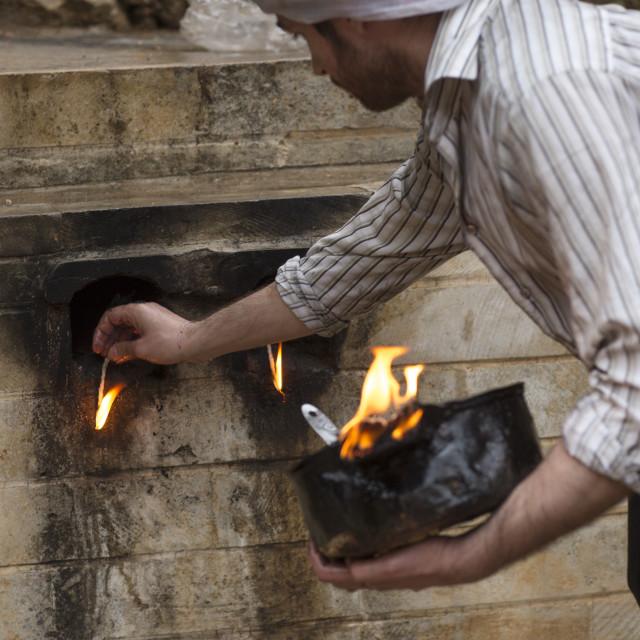 """Yezedi Fakirs Lighting Sacred Fire In The Streets, Lalesh Temple, Kurdistan,..."" stock image"