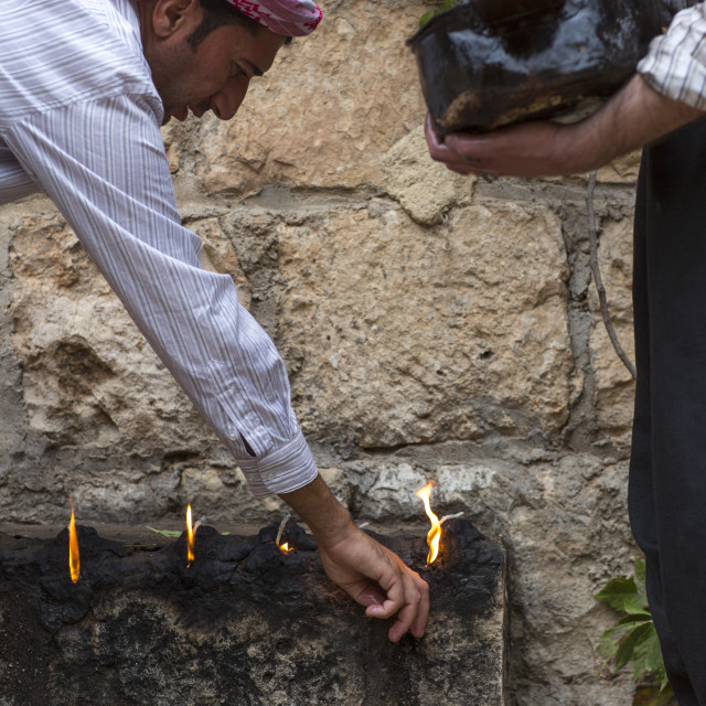 """Yezedi Fakirs Lighting Sacred Fire In The Streets, Lalesh Temple, Kurdistan,..."" stock image"